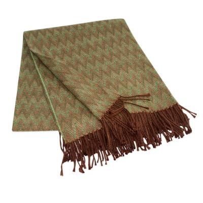 Throw blanket, 'Forest' - Peruvian Throw Green Zigzags