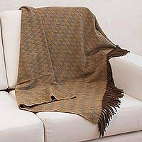 Alpaca blend throw blanket, 'Desert' - Ocher Green Blue Peruvian Throw