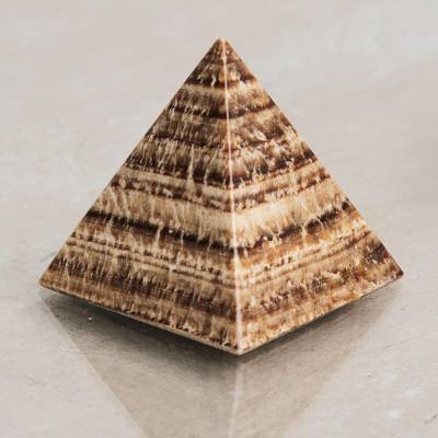 Aragonite pyramid, 'Self-Acceptance' - Natural Gemstone Pyramid Aragonite Sculpture