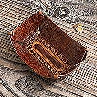 Leather catchall, 'Brown Lasso Labyrinth' - Leather Catch All Handcrafted in Peru of Tooled Leather