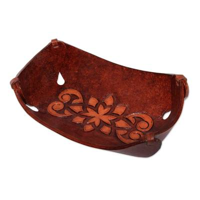 Leather catchall, 'Floral Star' - Leather Catchall in Honey Brown Artisan Crafted in Peru