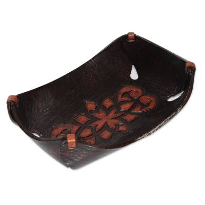 Leather catchall, 'Caramel Pyramid Tattoo' - Leather Catchall in Caramel Brown Artisan Crafted in Peru