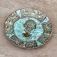 Bronze and copper decorative plate, 'Ceremonial Tumi Blade' - Andean Decorative Copper Plate with Bronze Accents