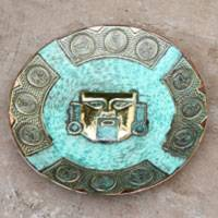 Bronze and copper decorative plate, 'Chimu Warrior' - Peruvian Artisan Crafted Decorative Plate