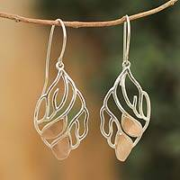 Sterling silver dangle earrings, 'Coppery Leaf' - Handmade Copper Accent Leaf Earrings