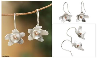 Sterling silver dangle earrings, 'Sweet Blossom' - Sterling Silver Flower Earrings with Copper Accents