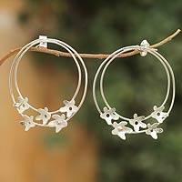 Sterling silver drop earrings, 'Jasmine Wreath' - Handcrafted Sterling Silver Flower Earrings