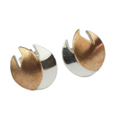 Handmade Silver Button Earrings with Copper Accents