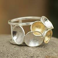 Gold accent band ring, 'Constellation' - Fair Trade Jewelry Brushed Silver Ring with 18k Gold Accents