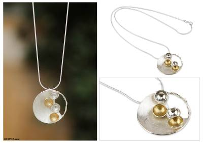 Gold accent pendant necklace, 'Waning Moon' - Handmade Modern Necklace with Sterling Silver and 18k Gold