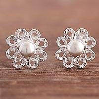 Sterling silver button earrings, 'Amazon Blooms' - Sterling Silver Floral Button Earrings