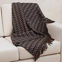 Throw blanket, 'Moonscape' - Peruvian Throw Black Grey White Zigzags