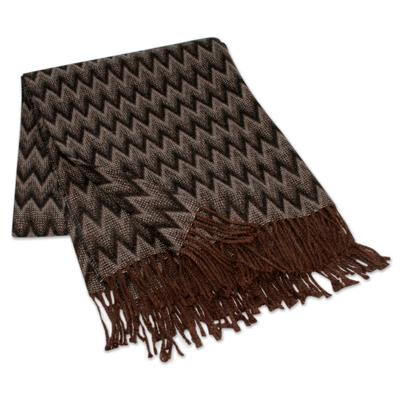 Throw blanket, 'Moonscape' - Peruvian Throw Black Grey White Zigzags
