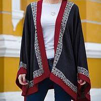 100% alpaca kimono-style cape, 'Baroque Andes' - Genuine Alpaca Cape in Black and Red from Peru