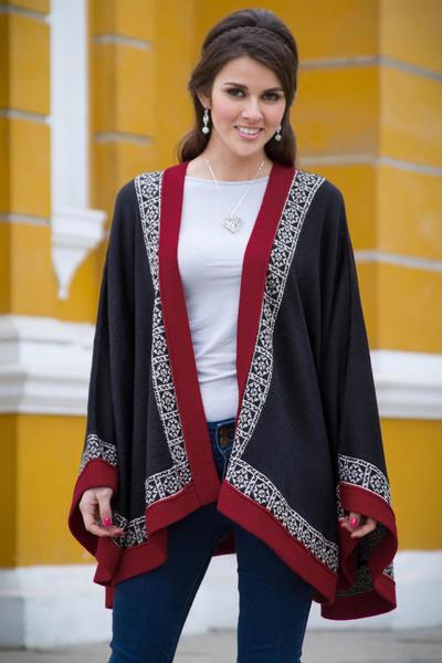 100% alpaca kimono-style cape, 'Baroque Andes' - Genuine Alpaca Cape in Black and Red from Peru