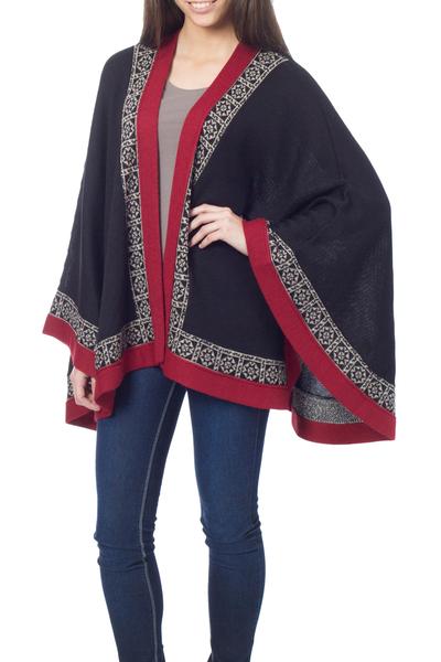 100% alpaca cape, 'Baroque Andes' - Genuine Alpaca Cape in Black and Red from Peru