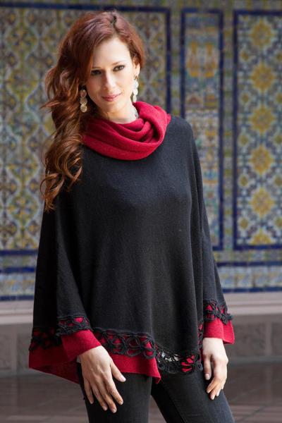 100% alpaca poncho, 'Huanta Black Roses' - Genuine Alpaca Poncho in Black and Red from Peru
