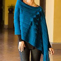 100% alpaca poncho, 'Illusions of Blue' - Peruvian 2-in-1 Poncho and Shawl in Genuine Alpaca