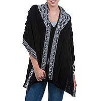 100% alpaca poncho, 'Cuzco Muse with White' - Black with White 2-in-1 Poncho and Shawl in Genuine Alpaca