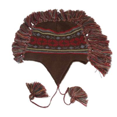 Brown Peruvian Chullo Cap with Earflaps and Fringe
