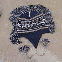 100% alpaca chullo hat, 'Puquio Adventure' - Blue Peruvian Chullo Cap with Earflaps and Fringe