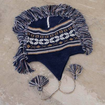 e8c3da237 Blue Peruvian Chullo Cap with Earflaps and Fringe, 'Puquio Adventure'