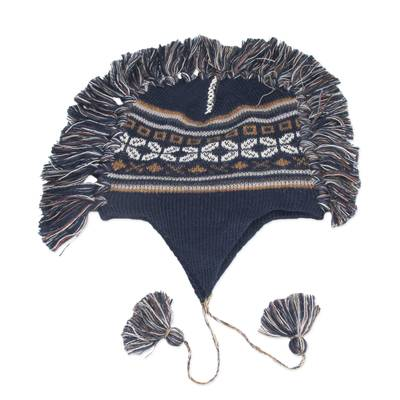 Blue Peruvian Chullo Cap with Earflaps and Fringe