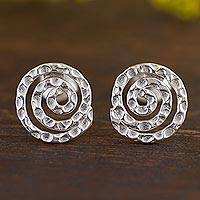 Sterling silver button earrings, 'Andean Cosmos' - Hammered Silver Spiral Earrings from the Andes