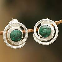 Chrysocolla button earrings, 'Cuzco Aura'