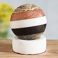 Multi-gemstone sphere, 'Peaceful Harmony' - Natural Gemstones Sphere Sculpture with Onyx Stand