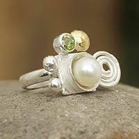 Gold accent cultured pearl and peridot cocktail ring, 'Andean Rune' - Fair Trade Peridot and Pearl Ring with 18k Gold