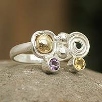 Gold accent amethyst and citrine cocktail ring, 'Intriguing Illusion' - Amethyst and Citrine Silverl Ring with 18k Gold from Peru