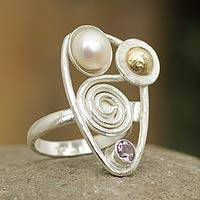 Gold accent cultured pearl and amethyst cocktail ring, 'Genesis' - Amethyst and Pearl Ring with 18k Gold
