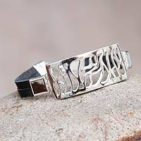 Sterling silver and leather pendant bracelet, 'Modern Abstraction'