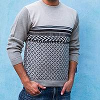 Men's 100% alpaca sweater, 'Millenary Voyager'