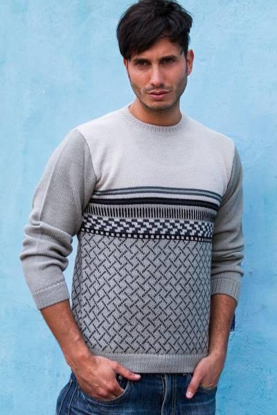 Men's 100% alpaca sweater, 'Millenary Voyager' - Gray Alpaca Pullover Sweater for Men