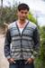 Men's 100% alpaca cardigan, 'Infinite Traveler' - Men's Alpaca Gray & Blue Cardigan from Peru (image 2) thumbail