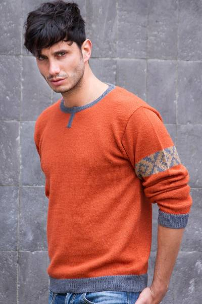 Men's 100% alpaca sweater, 'Chakana Wanderer' - Orange Alpaca Pullover Sweater for Men