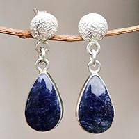 Sodalite dangle earrings, 'Sky Song' - Fair Trade Andean Silver and Sodalite Earrings