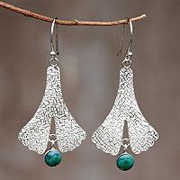 Chrysocolla dangle earrings, 'Mystic Dancer' - Fair Trade Andean Silver Chrysocolla Earrings