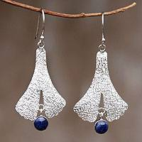 Sodalite dangle earrings, 'Mystic Dancer' - Fair Trade Andean Silver Sodalite Earrings