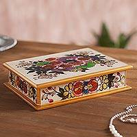 Reverse painted glass box, 'Cajamarca Blossoms' - Multicolor Floral Reverse Painted Glass Box Peru