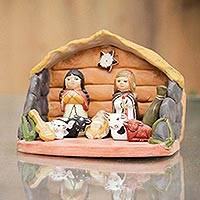 Ceramic nativity sculpture, 'Baby Jesus Arrives' - Artisan Crafted Ceramic Nativity Scene Sculpture