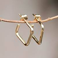 Gold plated half-hoop earrings, 'Minimalist Chic'