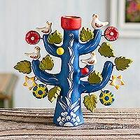 Ceramic candleholder, 'Ocean Tree of Life' - Artisan Crafted Ceramic Folk Art Candleholder from Peru