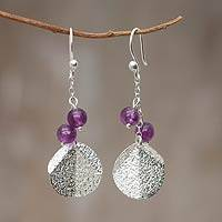 Amethyst dangle earrings, 'Lilac Moon' - Handmade Silver Leaf Earrings with Amethyst