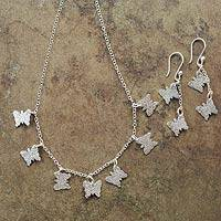 Sterling silver jewelry set, 'Andean Butterfly' - Sterling Silver Necklace and Earrings Jewelry Set