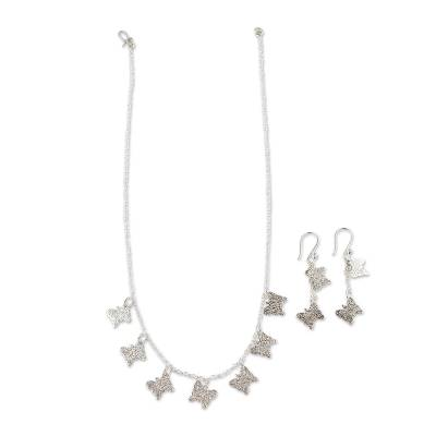 Sterling Silver Necklace and Earrings Jewelry Set