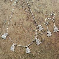 Sterling silver jewelry set, 'Happy Hearts' - Handmade Silver Heart Necklace and Earrings from Peru