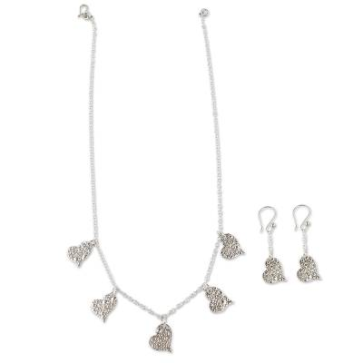 Handmade Silver Heart Necklace and Earrings from Peru